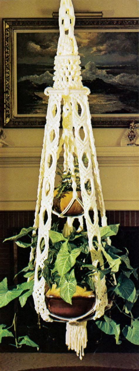 Macrame Patterns Plant Hangers - pattern only vintage 1976 retro macrame plant hanger pattern