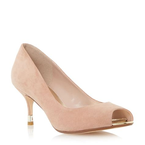 Dunes Perfume Peep Toe Heel by Dune Peep Toe Kitten Heel Court Shoe In Pink Lyst