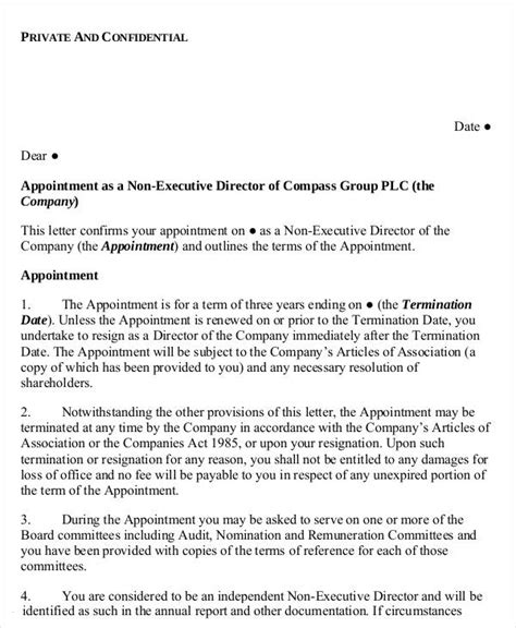 appointment letter non executive director 25 appointment letter format templates free pdf word docs