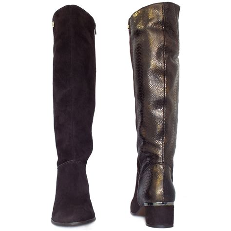 elysess verbier fashion knee high boots snake skin