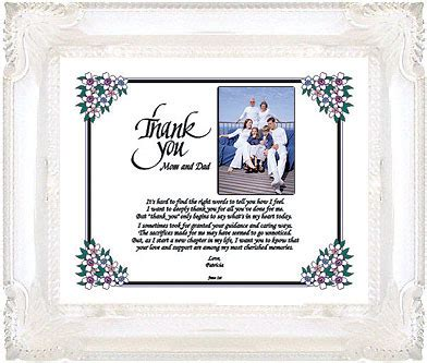 thank you letter to on wedding day personalized thank you to parents on wedding day special