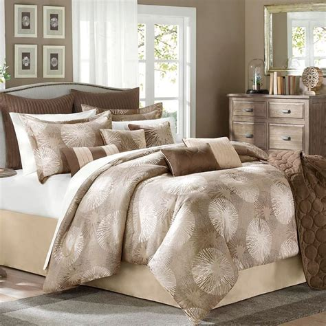 tan coverlet jla home sloane 10 piece queen comforter set chocolate
