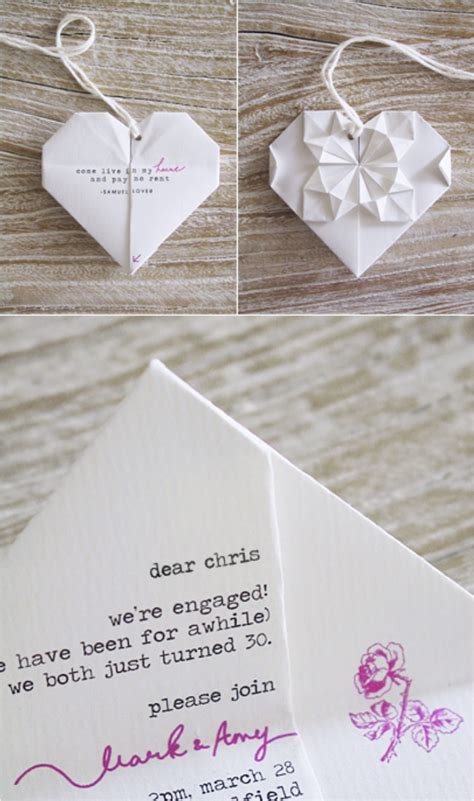 Origami Invitation - 30 creative ideas to make your own wedding invitations