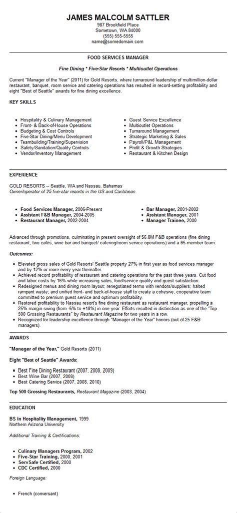 Restaurant Resume Templates by Resume Restaurant Manager Resume Template Free Resume