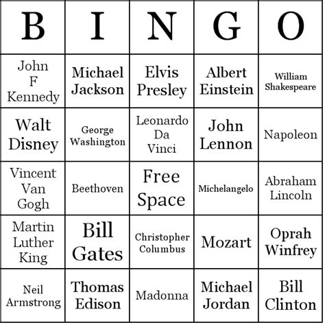 famous people bingo cards