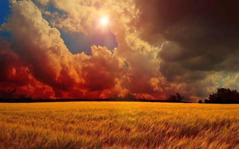 imagenes de nubes rojas nubes rojas sol y co de trigo fondos de pantalla