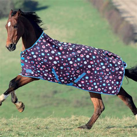Equestrian Rug by Shires Tempest Lite Turnout Rug Purple Spots Redpost
