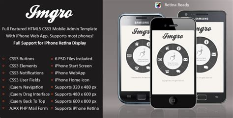 imgro mobile retina html5 css3 and iwebapp by enabled