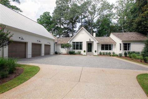 Ballard Designs Curtains pea gravel driveway exterior farmhouse with barn lights