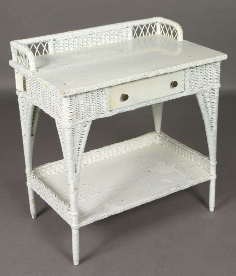 white wicker desk white wicker desk with wooden top drawer an 1537005