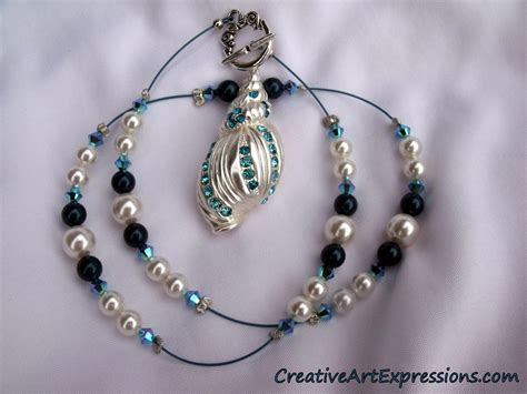 Creative Handmade Jewelry - creative expressions handmade blue silver shell