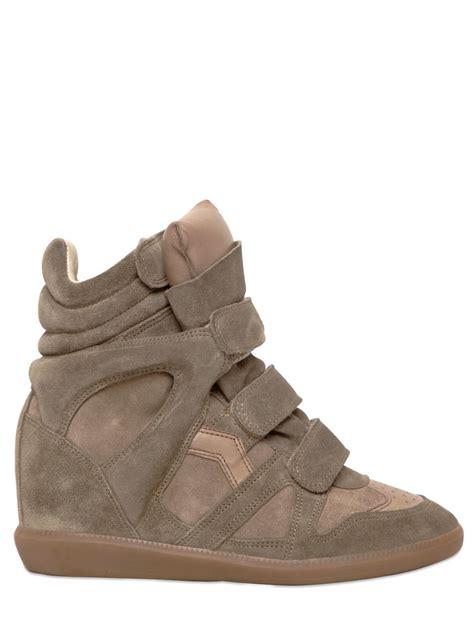 marant slippers marant etoile 80mm bekett suede wedge sneakers