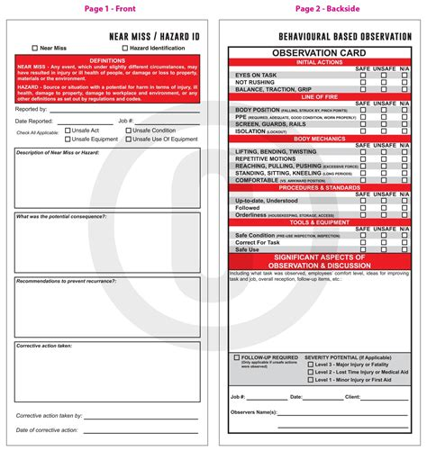 safety observation card template forms printing and designing alberta printers inc