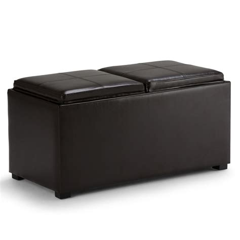 Storage Ottoman With Serving Tray Simpli Home Avalon 5 Rectangular Storage Ottoman With 2 Serving Trays The Home Depot Canada