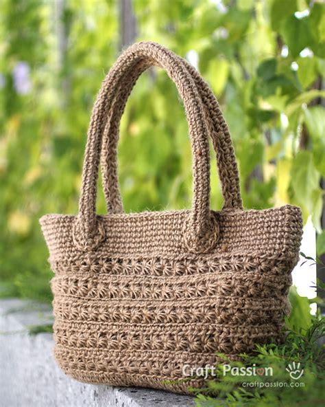 crochet jute bag pattern star stitch tote jute twine free crochet pattern diy