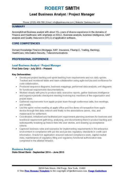 Business Analyst Sle Resume by Sle Resume For A Business Analyst 28 Images Charming