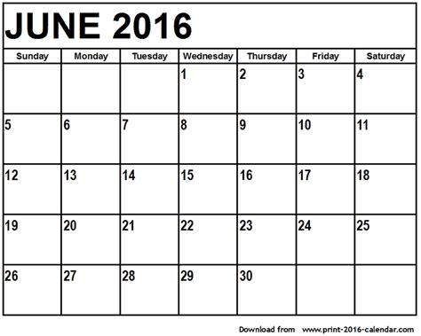June Calendar Template june 2016 printable calendar