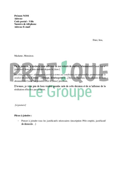 Resiliation Lettre Canal Plus lettre de r 233 siliation d abonnement canal sat pratique fr