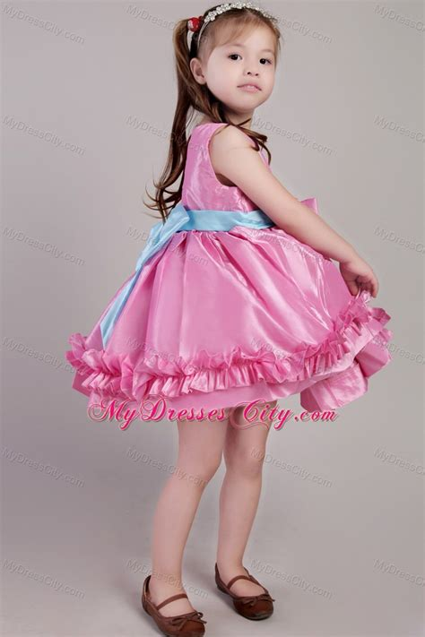 knee length rose pink scoop taffeta belt  girl dress