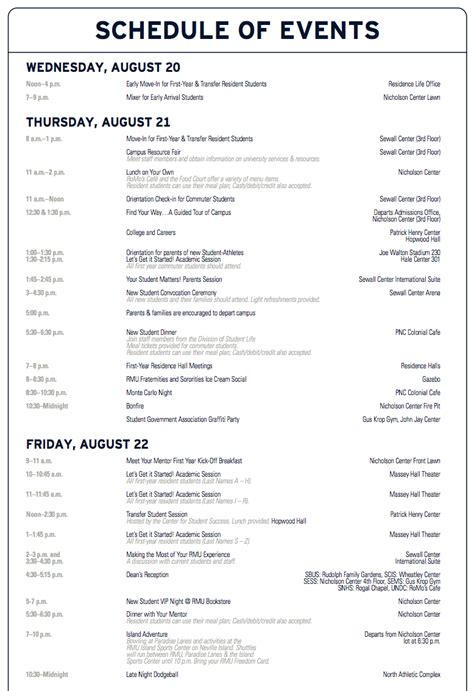 Orientation Schedule Student Life