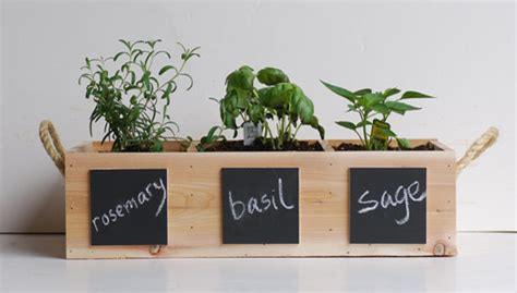 herb indoor planter indoor outdoor herb garden with chalkboard placards by