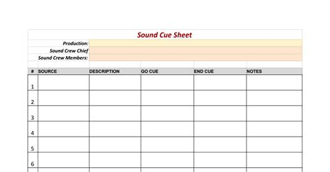 sound template sound cue sheet template sheets