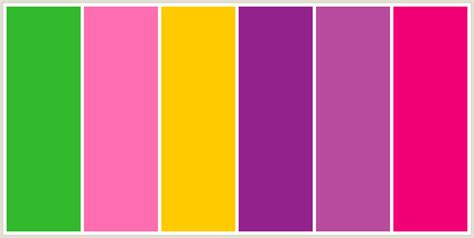 3 colors that look together colorcombo9627 with hex colors 32b92d ff6eb0 ffcb00