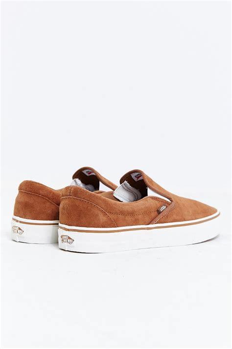 vans classic slip on sneaker vans classic suede slip on sneaker in brown for lyst