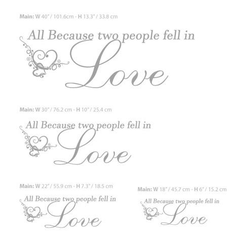 All Because Two People Fell In Love Wall Sticker all because two people fell in love decal wall decals
