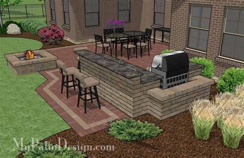 large courtyard brick patio design with outdoor kitchen