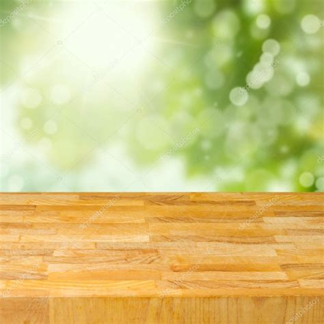 html table background image empty wooden table garden bokeh background stock