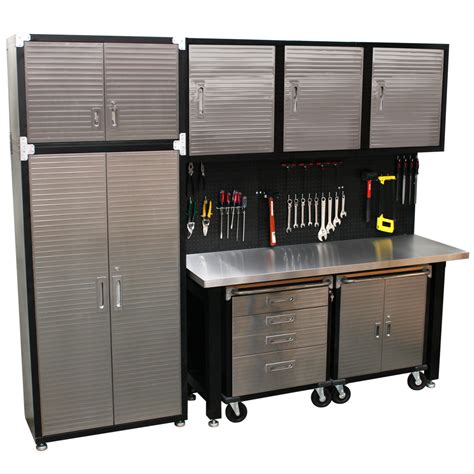 Storage Systems Garage Cabinets 9 Standard Garage Storage System Stainless Steel Workbench High Quality Solutions