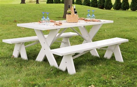 picnic tables with detached benches dura trel white plastic picnic table with detached benches