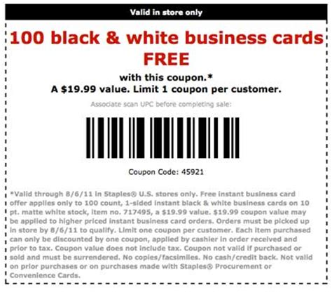 Free Gift Card Coupons - 100 free business cards at staples coupon karma