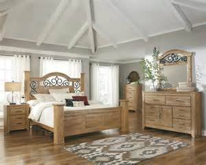Wood And Metal Bedroom Sets Ashley Drogan Pine Wood Iron Vintage Casual Queen King