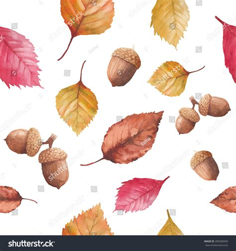 watercolor seamless pattern with pink and orange autumn watercolor autumn nature seamless pattern hand drawn