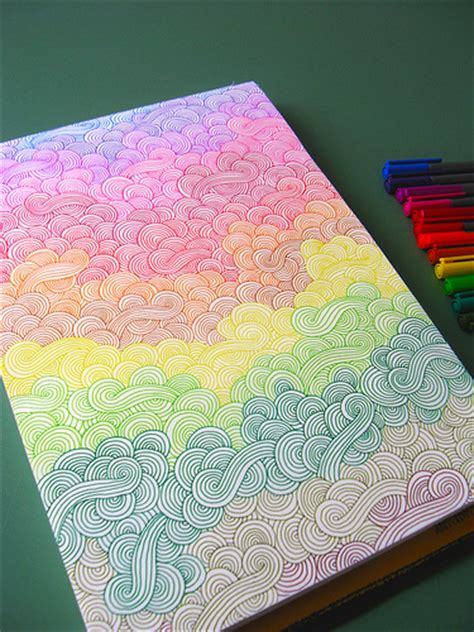Rainbow Pattern Doodle | rainbow doodles doodling that requires no thought quite