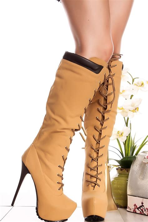 laced up high heel boots suede lace up knee high platform high heel boots