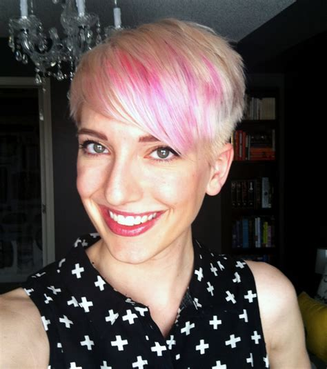 platinum blush pixie haircut  pink highlights dutchie love
