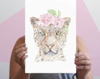 Flower Crown A3 realistic drawing etsy