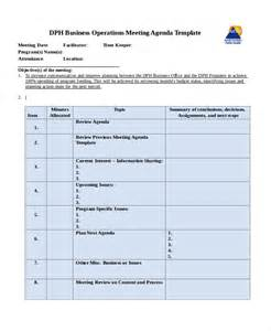 Operations Budget Template by Company Meeting Agenda Template 7 Free Word Pdf