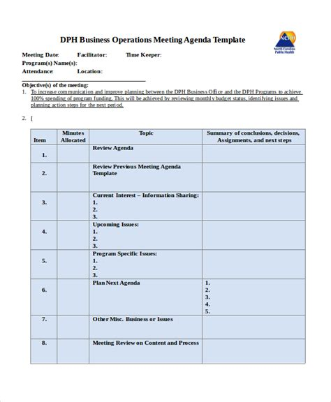 operation template company meeting agenda template 7 free word pdf
