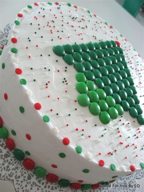 m ms christmas tree cake side view baked for you