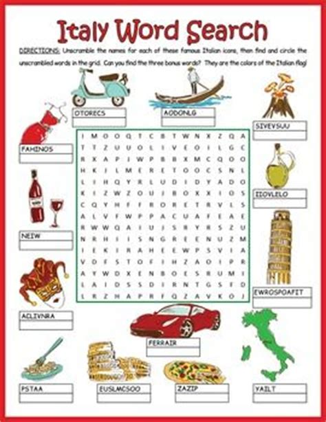 Puzzle Wharf Italy Flavor italy word search puzzle italian icons them italy and 13