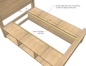 High Platform Bed Frame Queen - storage bed woodworking plans step 15