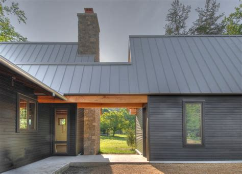 Board And Batten Metal Siding - metal roof house exterior transitional with trout