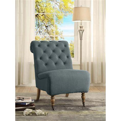 linon home decor linon home decor cora washed blue linen roll back side