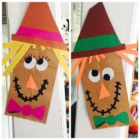 Scarecrow Paper Craft - easy paperbag scarecrow craft work