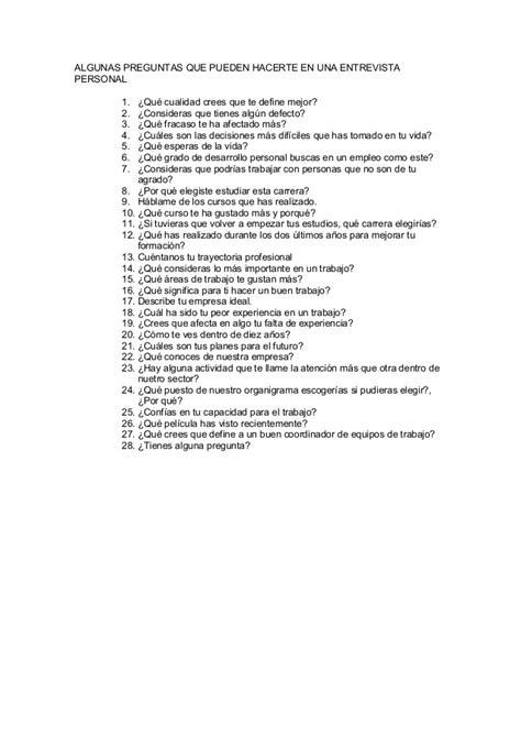 preguntas personales para una entrevista preguntas entrevista personal