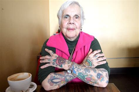 old lady tattoo the 81 year with the lizard and more